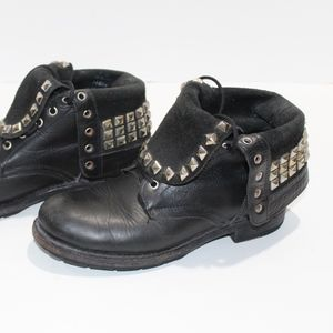 Frye Rogan Studded Lace Combat Boots Fold Over 7